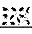 set ratmouse silhouette vector image vector image