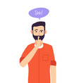 shh man business secret serious male with vector image