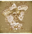 skull in sombrero with flowers day the dead vector image