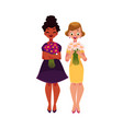 two women girls black and caucasian holding