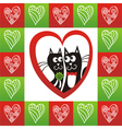 Valentines day card cats heart