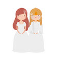 wedding brides women in elegant dress cartoon vector image