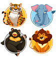 wild animals on circle template vector image vector image