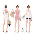 woman in summer dress costume for party vector image