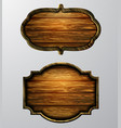 Wooden signs icon set vector image