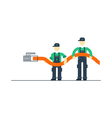Workers with cable connecting to internet vector image vector image