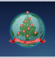 world map globe christmas tree vector image vector image