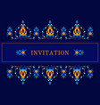 greeting card invitation with oiental pattern vector image