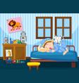 a boy sleeping in the bedroom vector image