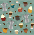 aseamless pattern of various cups of coffee vector image vector image