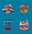 basketball logo badge vector image