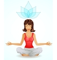Beautiful brunette girl in meditation position vector | Price: 1 Credit (USD $1)