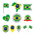 brazil flag icons set symbols flag of vector image vector image