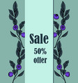 card sale leaves and blueberries vector image vector image