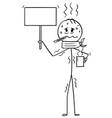 cartoon of ill man or businessman holding empty vector image