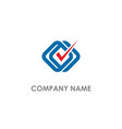 check mark square connect logo vector image vector image