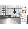 Chef in white uniform working in kitchen vector image vector image