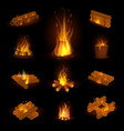 fire flame or firewood fired flaming vector image