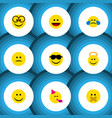flat icon emoji set of cold sweat angel laugh vector image vector image