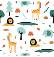 forest animals pattern and cute nature icons print vector image