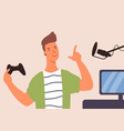 friendly gamer guy hold joystick talk at vector image
