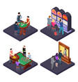 gambling casino isometric composition vector image