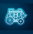 Glowing neon line western stagecoach icon isolated