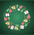green christmas circular decoration with motifs vector image vector image