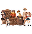group of hipster teenager vector image