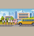group of mix race pupils walking in yellow bus in vector image vector image