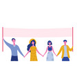 group young men and women standing together vector image