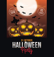 halloween party flyer with pumpkins and full moon vector image vector image