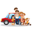 happy family in front car vector image