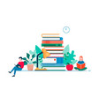 home reading modern flat design concept studying vector image vector image