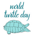 inscription world turtle day and turtle vector image vector image