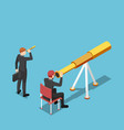 isometric businessman use bigger telescope than vector image