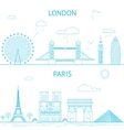 London and Paris skyline in lines vector image vector image