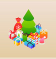 merry christmas beige greeting card vector image