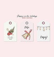 merry christmas hand-drawn greeting cards with vector image