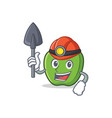 miner green apple character cartoon vector image vector image