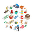 noshery icons set isometric style vector image vector image