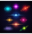 Realistic color lens flare light effects vector image vector image