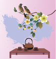 Sakura postcard advertising tea and coffee vector image vector image