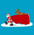 santa and reindeer carrying a big sack vector image vector image