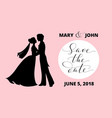 save the date card with bride and groom vector image vector image