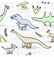 seamless pattern with doodle dinosaur vector image
