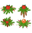 set christmas tree decorations vector image