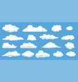 set different cartoon clouds isolated on blue vector image vector image