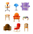 set of colorful comfortable chairs different vector image