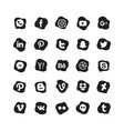 Social media icon set black white color